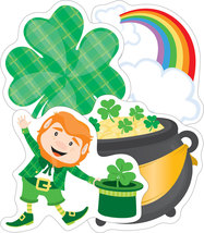 St. Patrick's Day Cut-Outs four-leaf clovers ra... - $5.99