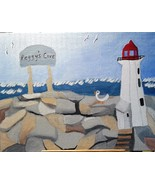 Peggy's Cove Lighthouse FREE S & H  Folk Art Painting on Southshore of N... - $44.00