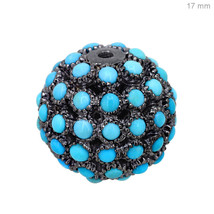 New Turquoise Gemstone Pave Bead Ball 925 Sterling Silver Jewelry Spacer... - $177.34