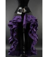 Purple Black Steampunk Victorian Long Short Front Ruffle Buckle Goth Skirt - $100.98