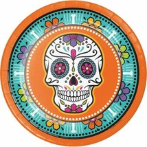 "Day of the Dead Skulls 8 Ct 9"" Halloween Dinner Plates - $4.39"