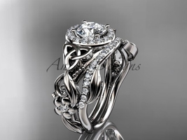 Celtic Wedding Ring Sets Platinum Diamond Celtic Trinity Knot Bridal Set CT7300S - $3,300.00