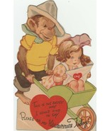 Vintage Valentine Card Monkey Pushes Girl in Wheelbarrow 1940's For Child - $10.88