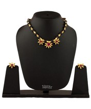 Womens Trendz Fancy Crystal Mani with Three Pendants24K Gold Plated Alloy Mangal - $40.00