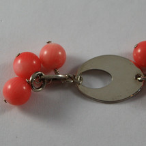 .925 RHODIUM SILVER BRACELET WITH CORAL BAMBOO AND OVAL image 2