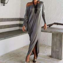 New Off Shoulder Loose Full Length Dress - $34.00