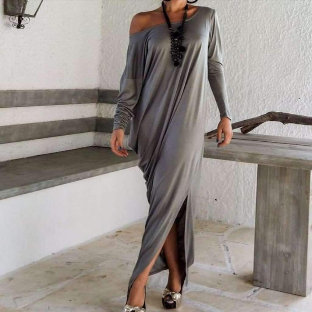 Ress for less maxi dress xsmall dark gray new off shoulder loose full length dress 1403975761951