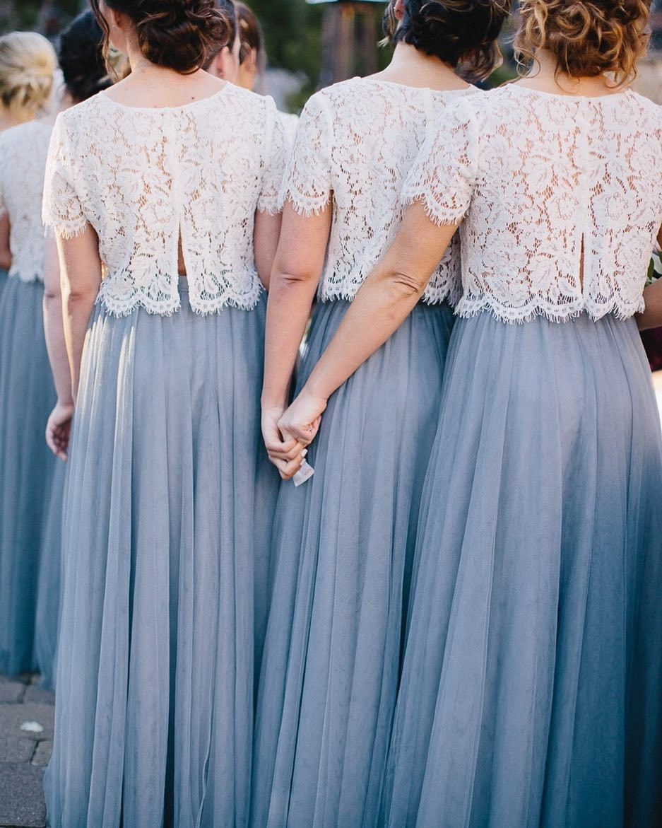 Bridesmaid lace tops back