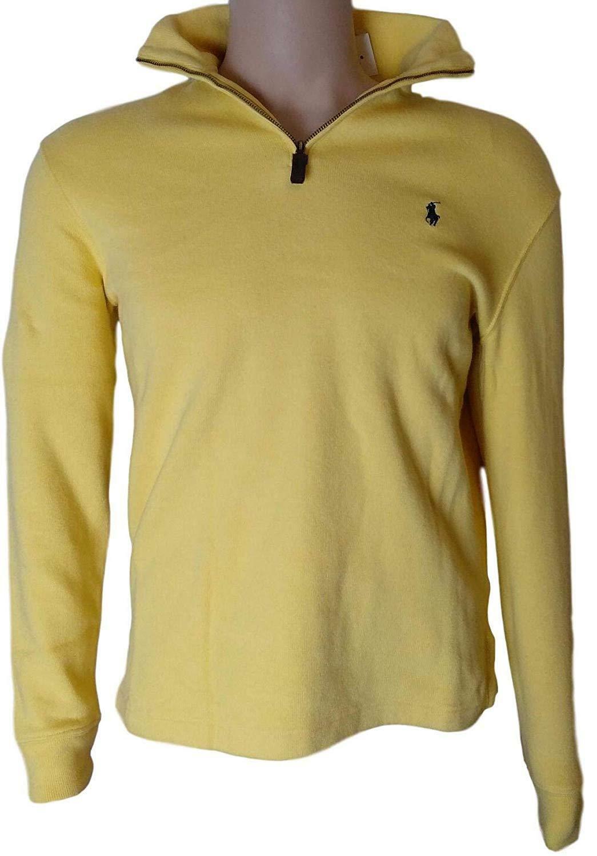 Polo Ralph Lauren Men's Half Zip French Rib Cotton Sweater Yellow S M L new - $84.99