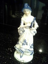 Vintage Blue and White Female Figure Statue, Colonial, Lyre - $35.00