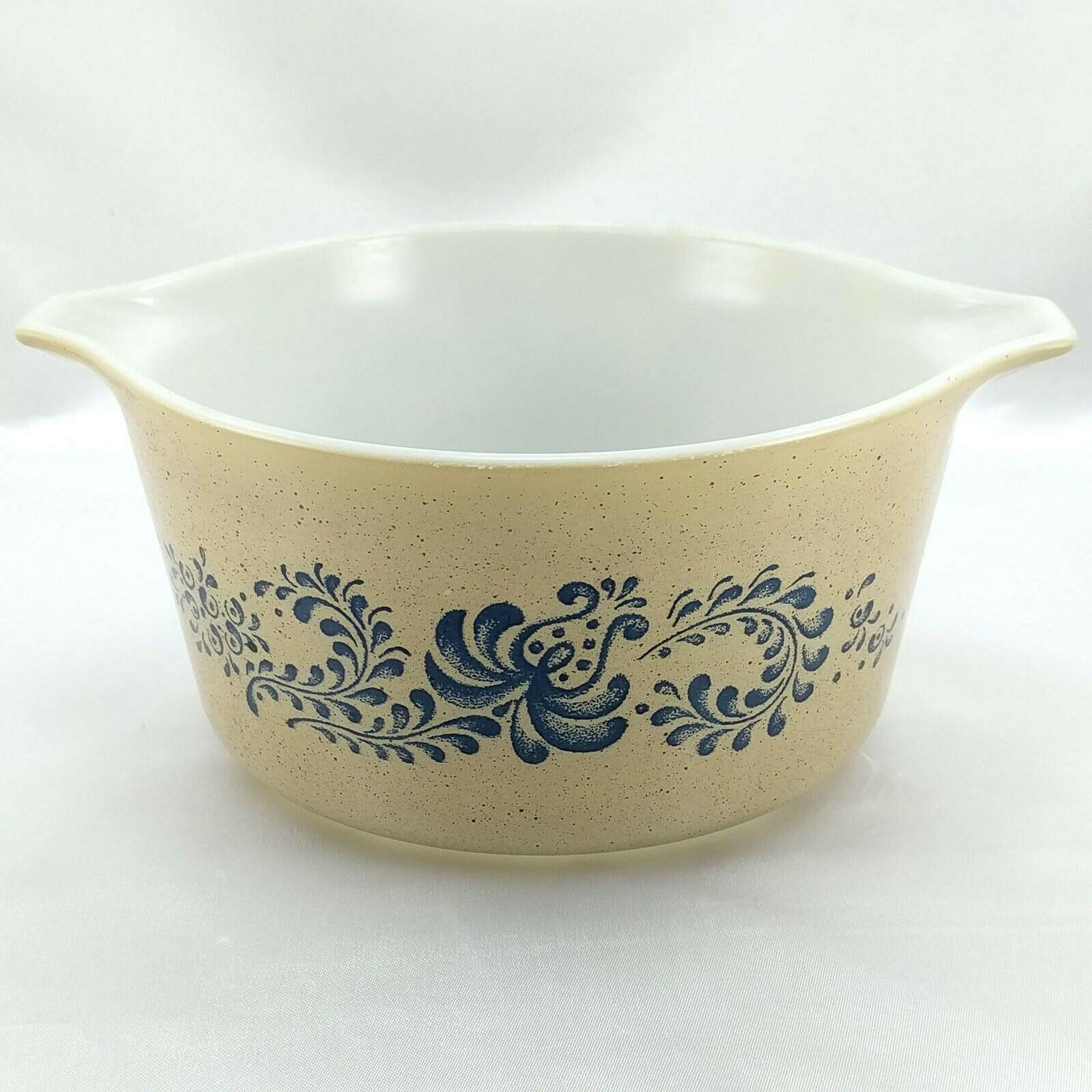 Pyrex 473 Homestead Blue Floral Speckled Vintage Baking Serving Casserole Dish