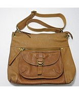 Fossil 1954 Long Live Vintage Tan Camel Leather Crossbody Tote Purse Sat... - $74.21