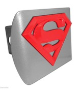 SUPERMAN RED SHIELD EMBLEM ON BRUSHED CHROME METAL USA MADE TRAILER HITC... - $72.19