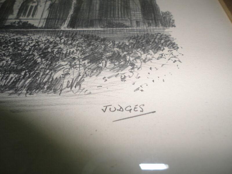 Original Art UK Artist JUDGES Pencil Sketch Cartmel Priory Cumbria Framed image 6