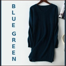 Ladies Soft Mink Cashmere Long Sleeve Blue Green V-Neck Mini Sweater Shirt Dress