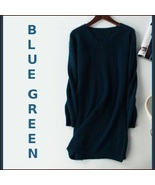 Ladies Soft Mink Cashmere Long Sleeve Blue Green V-Neck Mini Sweater Shi... - $108.95