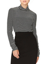 New $54 Sanctuary Essential Mock Neck Crop Top Black & White Striped Shi... - €26,04 EUR