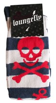 Loungefly Nautical Skull Navy Grey Red Striped Knee High Socks LFSK557 NWT image 2