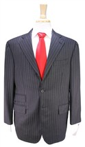 HOLLAND & SHERRY Charcoal w/ Gold Pinstripe 3-Btn Wool-Cashmere-Mink Sui... - $105.00