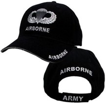 Airborne Hat With Wings - U.S. Army Black With Jump Wings Baseball Cap Hat - $23.95