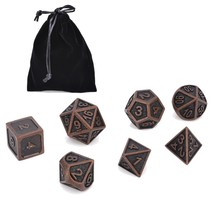 7Pcs/set Metal Polyhedral Dice DND RPG MTG Role Playing Board Game With Bag - $15.98