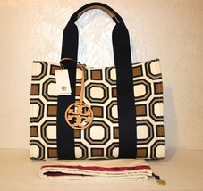 Tory Burch New Ivory Octagon Print Square Large Tote Bag - $178.19