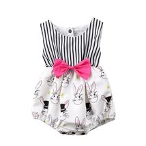 beautiful baby girls striped romper sleeveless Easter outfit - $8.98