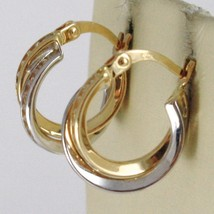 18K WHITE & YELLOW GOLD DOUBLE PENDANT CIRCLE HOOPS EARRINGS, TWISTED, ROPE image 2
