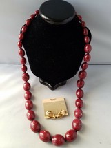 Monet Vintage Signed Earrings Clip On & Red Beaded Necklace Retro Jewelry - $55.79