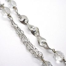 SILVER 925 NECKLACE, GIADA BROWN, LENGTH 80 CM, CHAIN WORKED WITH FLOWERS image 4