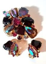 VINTAGE JULIANA RHINESTONE LARGE PURPLE PINK GLASS HEARTS BROOCH & EARRINGS - $150.00