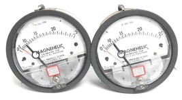 LOT OF 2 DWYER 12-167004-00 MAGNEHELIC PRESSURE GAUGES X 100 CFM, 1216700400
