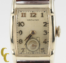 Hamilton 10k Gold Filled Hand-Winding Watch w/ Brown Leather Band Mvmt 753 - $732.59