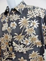 Aloha Shirt - Campia Moda Hawaiian ~ L ~ Gray & Gold Floral - $27.87