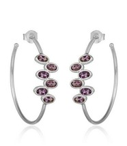 Women's 925 Silver Handmade Designer Amethyst Hoop Earrings Jewelry - $37.37