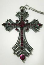 Silver Tone Crucifix Cross Pendant Necklace Blood Red Rhinestones Faux M... - $14.39