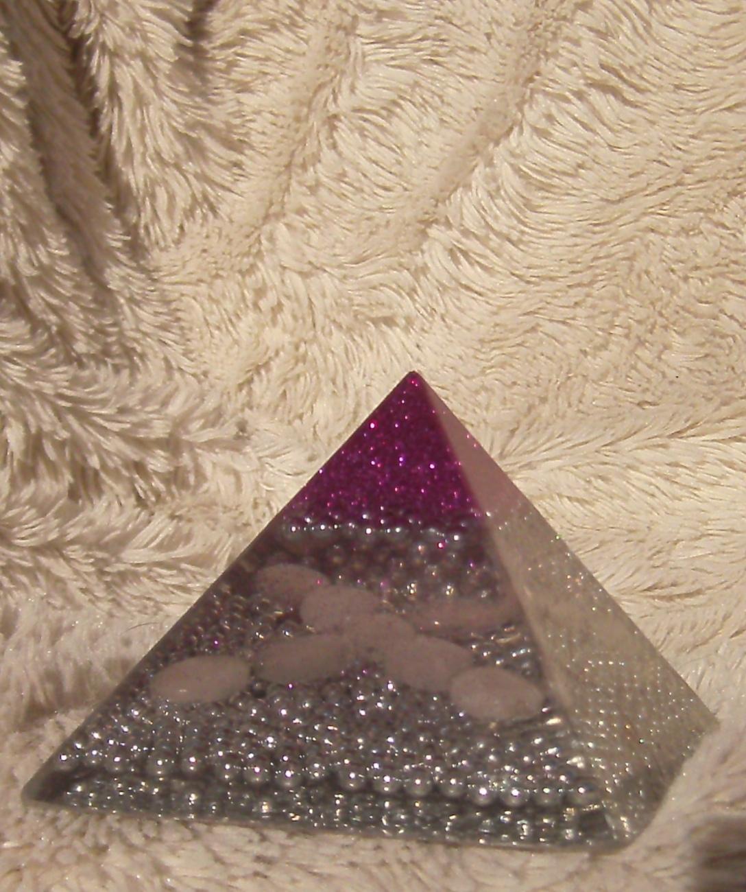 Orgone Energy Pyramid with Rose Quartz