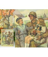 Vintage world war ii christmas card 1944 wwii soldier signed thumbtall