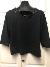 Isaac Mizrahi Live! Medium 3/4 Sleeve Cotton Black Top With Sequin Trim ... - $14.51