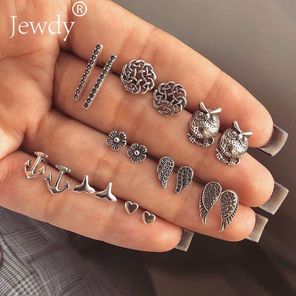 Jewdy® 9 Pairs/Lot Mix Design Heart Cross Owl Mermaid Vintage Small Stud