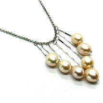 18K WHITE GOLD LARIAT NECKLACE 7 PENDANT WATERFALL WIRES OVAL PINK PEARLS, ROLO image 2