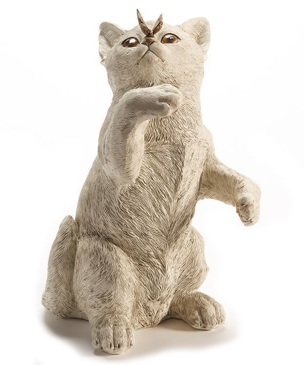 "Primary image for Cat Figurine with Gold Butterfly Design Accent 11.4"" high Cream Color"