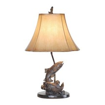 "Lake Trout Fish Table Lamp Fishing Bronze Finish  Rustic Cabin Lodge Decor 25""H - $104.99"