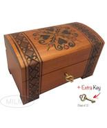 Heart Design Handmade Wooden Box w/ Lock Polish Jewelry Keepsake Treasur... - $34.64