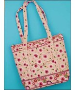 Pink Emily Quilted Tote Organizer bag 14.5x12x3.75 cross stitch - $25.00