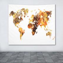 Wall Tapestry Wall Hanging Printed USA Design 102 world map orange brown... - $49.99+