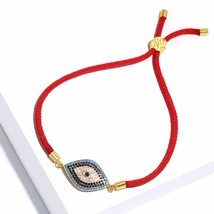 FLOLA Turkish Zircon Evil Eye Charm Bracelets for Women Men Black & Red Rope Bra - $14.21