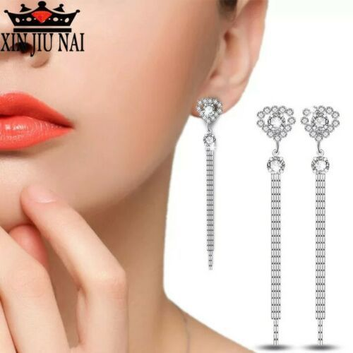Primary image for NEW 925 Sterling Silver Long Tassel Dangle Drop Earrings ALL SILVER [EAR-221]