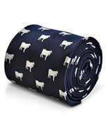Frederick Thomas Navy Blue Mens Tie with Goat pattern - $16.42