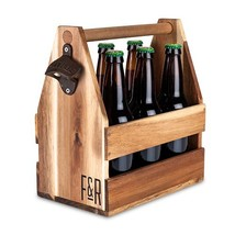 Bottle Holder Carrier, Acacia Wood Beer Caddy Travel Rustic Wine Bottles... - $47.99